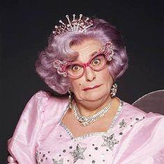 Dame Edna Everage as Fairy Godmother by Terry O'Neill. London 1990
