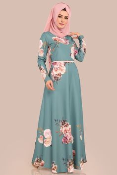 ELBİSE Çiçek Desenli Elbise 00202-B329 Mint Hijab Dress Party, Hijab Style Dress, Hijab Chic, Hijab Outfit, Casual Formal Dresses, Nice Dresses, Blouse Batik, Abaya Fashion, Women's Fashion