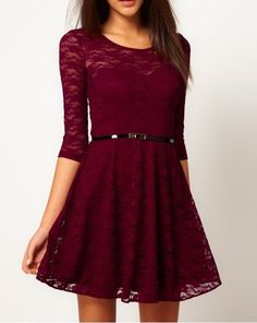 Fashion Lace Stitching Round neck long-sleeved dress with belt - Dark Red maroon: