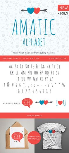 Real Script Hipster Amatic Font Alphabet Cuttable svg dxf png pdf eps jpeg ai…