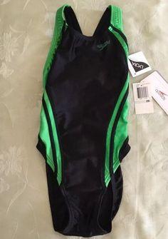 5c0962abd3065 New Speedo Racing Swimsuit 719645 Size 26 Black Green NWT #Speedo #OnePiece  Swim Team