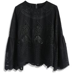 Chicwish Beauty Full Lace Cutout Top in Black ($51) ❤ liked on Polyvore featuring tops, black, embroidered top, cut out top, lace top, cut out lace top and lace bell-sleeve tops
