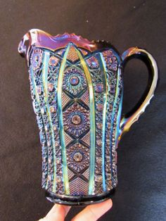 Octagon Water Pitcher! Purple! Scarce! Old Imperial DIAMOND CUT Carnival Glass