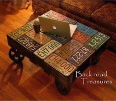 Coffee table/ license plates: