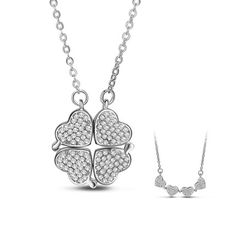 SWEETIEE&reg Chic 925 Sterling Silver Clover Pendant Necklaces, with Micro…