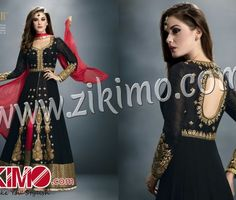 GULZAR BLACK GEORGETTE STONE STUDDED ANARKALI SUIT WITH RED DUPATTA 1404
