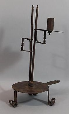 Early Antique Primitive Hand Forged Iron Folk Art Adjustable Candlestick, NR