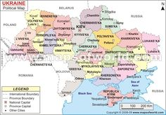 Ukraine Map providing the accurate map with international boundaries, national capital, province, province capital etc.