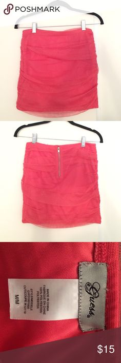 GUESS coral party skirt Coral GUESS party skirt - flattering ruching overlay. Perfect in the summer or winter with tights, can be dressed up or dressed down. Guess Skirts Mini