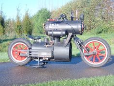 How is this for a beast a steam powered motorbike from Ravatu http://www.revatu.nl/blackpearl.php