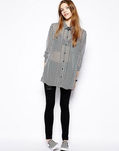 Chiffon Constrast Lapel Long Sleeve Button Fly Striped Tops JC044-1 US$21.5