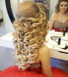 My boyfriend needs his hair done in gorgeous formal styles more often. I have done it a few times though. Oh, and I'd totally put him in that dress given half a chance Wedding Hairstyles For Long Hair, Fancy Hairstyles, Medium Hair Styles, Curly Hair Styles, Quinceanera Hairstyles, Glam Hair, Pinterest Hair, Big Hair, Hair Looks