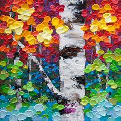Colourful Contemporary Abstract Fall Aspen Birch Tree Landscape Painting by Canadian Artist Painter Melissa McKinnon – Jewel Trees VII Turquoise Art, Purple Art, Yellow Art, Orange Art, Green Art, Blue Art, White Art, Acrylic Painting Trees, Mini Paintings