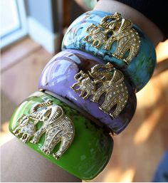 Boho Elephant Bangle resin bangle is paired with a sparkling pair of elephants