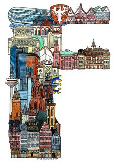 F, Frankfurt (Germany) - ABC illustration series of European cities - by Hugo Yoshikawa (Japanese illustrator)
