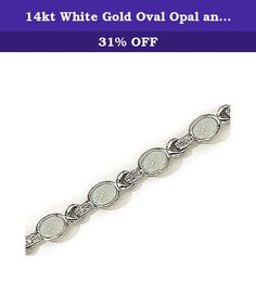 14kt White Gold Oval Opal and Diamond Bracelet. 14kt White Gold Oval Opal and Diamond Bracelet. Oval 7/5mm 5.00ct. Round Diamonds 0.12ct. H-I color, SI1-SI2 clarity.Free Gift Box. Carat wgt and measurements are approximate.