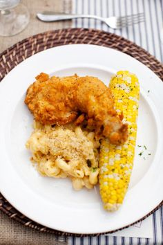 fried chicken, macaroni and cheese and corn on the cob! comfort food at its best...