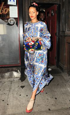 Rihanna's Floral Street Style in New York City | InStyle.com