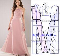 Observe com atenção a transformação do molde de vestido rosa de festa longo para poder fazer a leitura correta. Desta forma simplifica o seu trabalho na construção do molde deste modelo. Este passo é