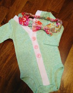 Baby Cardigan Onesie With Bow Headband, Mint Infant Cardigan Headband Set, Baby Girl, Child Cardigan, Long Sleeve Cardigan, Baby Shower Gift on Etsy, £23.53