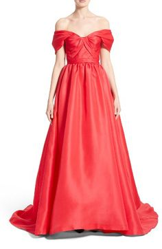 Marchesa Marchesa Silk Gazar Sculpted Off the Shoulder Gown available at #Nordstrom