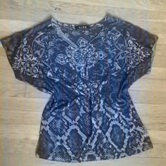B.L.E.U size S Preloved royal,dark and light blue shirt with sequence. Black and grey linning in the shirt as well.  No stains,tears, or fade. All sales are final. No refunds or exchange. No pp. B.L.E.U Tops