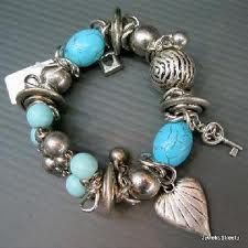 Handmade Jewelry ~ Silver, Turquoise and Heart theme bracelet.  :)