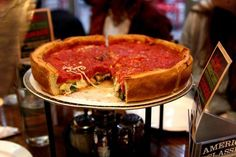 Deep Dish Pizza  Chicago's biggest export, a thick pizza made in a deep dish and slathered with a spicy tomato-based pizza sauce.  My Pie Pizzeria, 2010 N Damen Ave  MyPiePizza.com