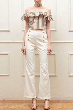 Natasha Gold Button Pants Discover the latest fashion trends online at storets.com #bottom #pants #goldbutton #whitepants