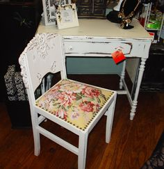 antique painted furniture desk chair #antiquefurniture #painted #homedecor #livingroom http://www.camillesantiqueboutique.com/antiques.html