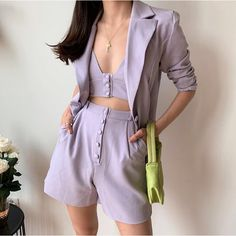 Boyfriend style One Button Mid Long Women Blazer Loose Short Pants Long Sleeve Suits 3 Pieces Set purple bikini office ladies Classy Outfits, Trendy Outfits, Summer Outfits, Fashion Outfits, Blazer Fashion, Purple Outfits, Emo Outfits, Blazer And Shorts, Loose Shorts