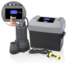 Here's an awesome product, our Sump Minder DC back up sump system. It continually checks for AC power and health of the 12V back up battery. Every 14 days the system self-checks its operation by running the pump. If a problem is detected the unit will send a voice alert via a standard telephone line connection to any 3 numbers you program in. Peace of mind that your basement is protected.