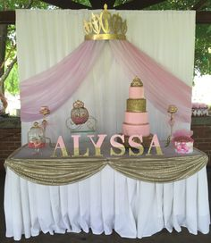 Princess Baby Shower Cake Table / Backdrop  Princess Baby Shower Ideas / Cake / Center Piece / Pink / Gold / Glitter / Diapers / Shoes / Backdrop / Carriage / Royal / Alyssa