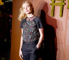 Kate Bosworth slayed in a printed top with a mess neck and black pants at the Friends of the High Line Summer Party in New York City.