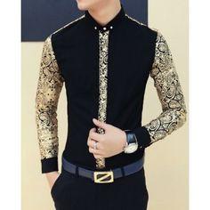 Mens Shirts Casual Style Slimming Paisley Turn-down Collar Gold Print Splicing - Casual Shirts Nigerian Men Fashion, African Men Fashion, Womens Fashion, Cool Shirts For Men, Casual Shirts For Men, African Shirts For Men, Trendy Outfits, Fashion Outfits, Fashion Shirts