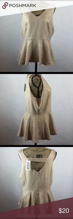 XL Metallic Sleeveless Shirt Gold metallic Sleeveless shirt with an open back. Fitted around waste and flares at hips. shop the trends Tops Tank Tops