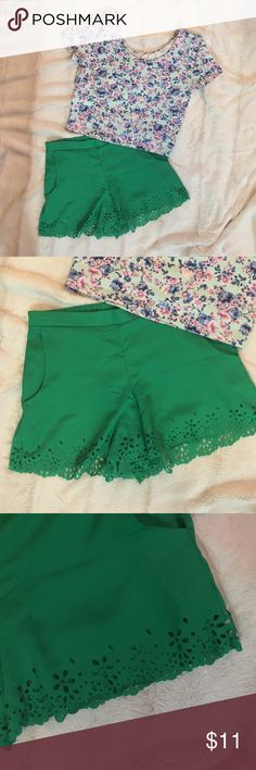 Scalloped Green Shorts 100% Polyester, these sit on your natural waist- so a little higher than a pair of regular shorts you'd get from GAP or JCrew. They have full elastic in the back but not in the front. These look so cute with a crop top! The brand is popular at Dillard's. Bought full price from Dillard's for a specific outfit and only wore once  so VGUC! Beautiful green color! Catch My I Shorts