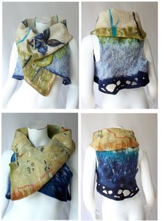 Ariane Mariane - exquisite . . .   Lovely and arty wearable fiber art collage/ reversible and versatile nunofelted 4 in 1 west