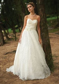 """Augusta Jones """"Janice"""" strapless lace & silk organza floor-length ball gown w/ attached chapel train, matching jacket, shrug, & veil available. $1501-$3000"""