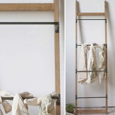 Metal And Wood Ladder Wall Rack.  DIY version with five IKEA towel bars and a few 2x4's