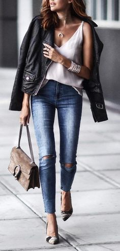 trendy fall outfit jacket + white top + bag + skinny jeans + heels