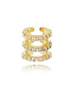 brinco piercing folheado a ouro com zirconias cristais semi joias modernas