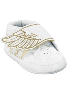 Remember the popular JS Wings High-top Sneakers that were introduced last Spring? Well, Jeremy Scott is now bringing his Adidas Originals by Originals collection down a few sizes to fit baby feet! They have taken the JS Wings high-top sneakers white-and-gold shoe – one of the collection's most popular adult styles – and shrunk them down into a Velcro-strap crib shoe version for newborns and will also be available in a lace-up high-top styl