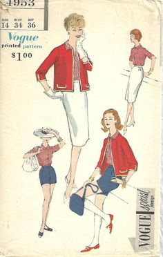Vogue 4953 / Vintage Special Design Sewing Pattern / Jacket Skirt Shorts Blouse / Size 14 Bust 34