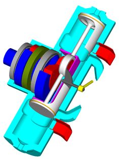 two stroke rotative valves, two stroke combustion engine valve animation gif, understanding, studying the principles of the two stroke combustion engine cycle, learning mechanical engineering, kinetic mechanism of valves