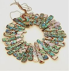 Abalone shell collar strand by HammeredEdgeStudio on Etsy