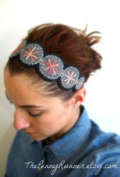 Bohemian Flower Felt Headband / Handmade Coral Wildflower Felt Headband / Coral and Aqua Wool Felt Headband. $30.00, via Etsy.