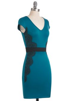 I like the fit of this dress. The lace on the sides make it flatter your figure. To dress it up, add silver pumps and jewelry with a bit of sparkle.  Up Teal Dawn Dress, #ModCloth