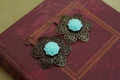Antique brass filigree earrings with teal mum by tortugasdesign, $8.95