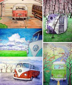 VW Bus Series Postcards (set of 5)